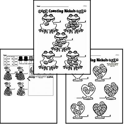 Money Math - Nickels Mixed Math PDF Workbook for First Graders