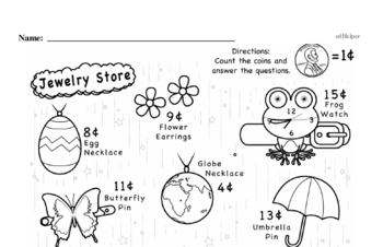 Money Math - Pennies Mixed Math PDF Workbook for First Graders