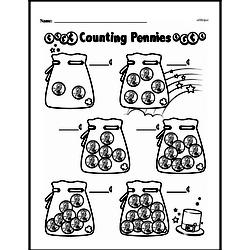 First Grade Money Math Worksheets - Pennies Worksheet #6
