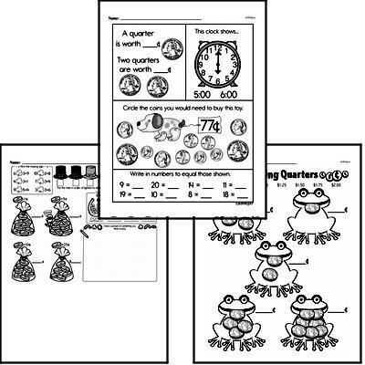Money Math - Quarters Mixed Math PDF Workbook for First Graders