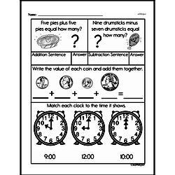 First Grade Money Math Worksheets - Quarters Worksheet #5
