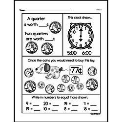 First Grade Money Math Worksheets - Quarters Worksheet #6