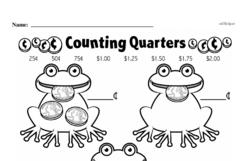 First Grade Money Math Worksheets - Quarters Worksheet #8