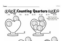 First Grade Money Math Worksheets - Quarters Worksheet #4