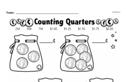 First Grade Money Math Worksheets - Quarters Worksheet #7