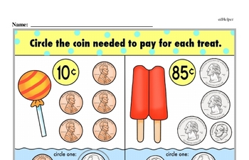 First Grade Money Math Worksheets Worksheet #1