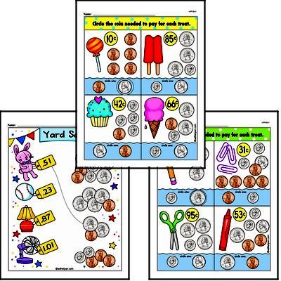 First Grade Money Math Worksheets Worksheet #4