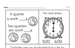 Free First Grade Money Math PDF Worksheets Worksheet #22