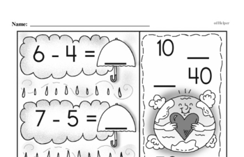 Number Sense - Powers of Ten Mixed Math PDF Workbook for First Graders