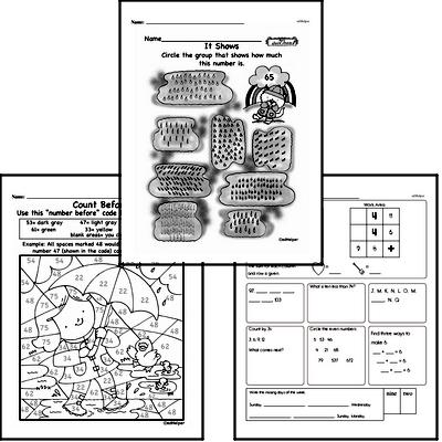 Number Sense - Two-Digit Numbers Workbook (all teacher worksheets - large PDF)