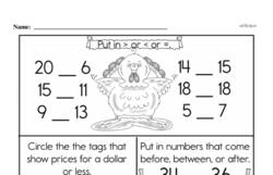 Free 1.NBT.A.1 Common Core PDF Math Worksheets Worksheet #22