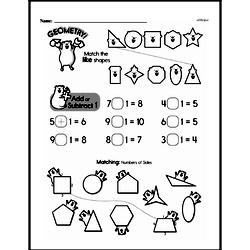 Subtraction - Subtraction and Patterns of 1 Less Mixed Math PDF Workbook for First Graders