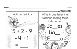 Free First Grade Subtraction PDF Worksheets Worksheet #30