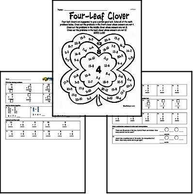 Subtraction - Subtraction within 20 Mixed Math PDF Workbook for First Graders