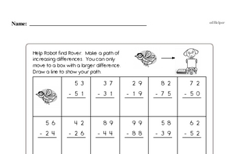 Subtraction - Two-Digit Subtraction Mixed Math PDF Workbook for First Graders