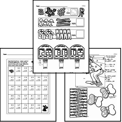 Subtraction - Two-Digit Subtraction Workbook (all teacher worksheets - large PDF)