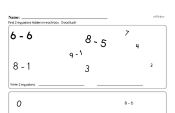 Subtraction Equation Matching Game