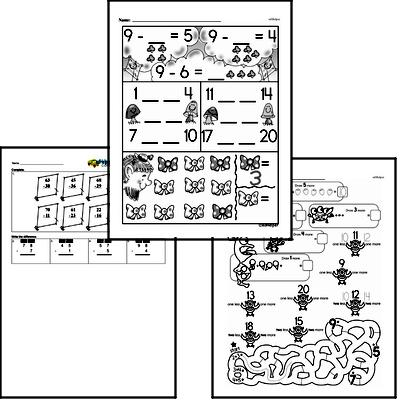 Subtraction Mixed Math PDF Workbook for First Graders