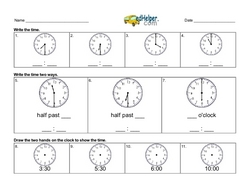 Easy Time Worksheets