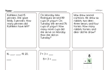 First Grade Word Problems Book