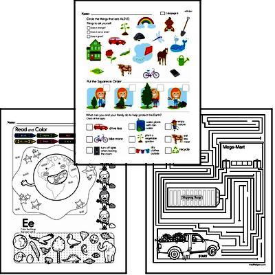 1st grade: Earth Day and Caring for Earth Math Challenge Workbook
