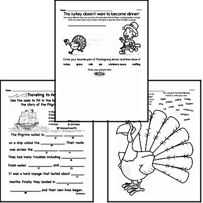 First Grade Thanksgiving, Pilgrims, and Native Americans Reading Comprehension Workbook with Math