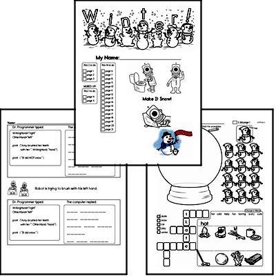 First Grade Winter Activity No Prep Workbook Worksheets