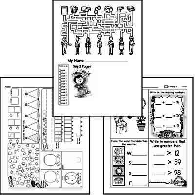 First Grade Winter Activity Book for Start of January
