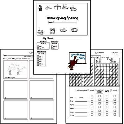 2nd Grade Thanksgiving No Prep Spelling Book