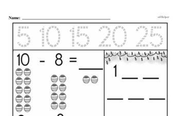Addition - Addition within 10 Mixed Math PDF Workbook for Second Graders