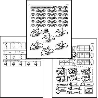 Addition - Addition within 20 Mixed Math PDF Workbook for Second Graders