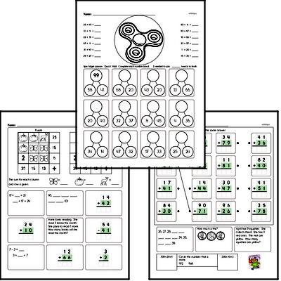 Addition - Two-Digit Addition Mixed Math PDF Workbook for Second Graders