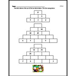 Addition Pyramid Puzzle Problem Worksheet