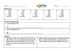 4th Quarter Math Assessment for Second Grade - Few Mixed Review Math Problem Pages