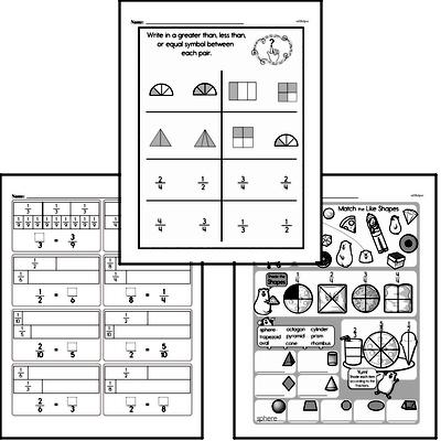 Fractions Mixed Math PDF Workbook for Second Graders