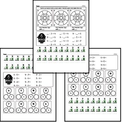 Addition and Subtraction Mad Minute Timed Addition Math Drill Pages for Second Graders