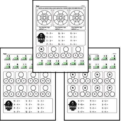 Addition and Subtraction Mad Minute Timed Addition Math Drill Pages for Second Graders (up to 12)