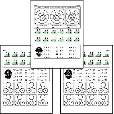 Mad Minute Timed Addition Math Drill Pages for Second Graders (2-digits plus 1-digit)