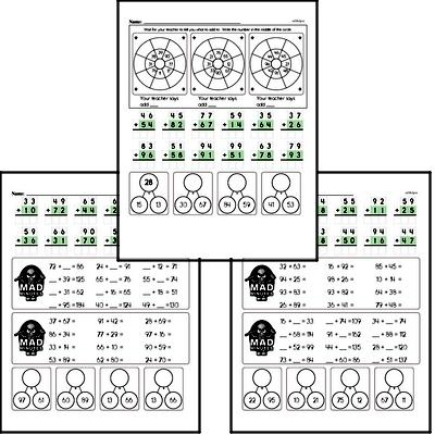 Mad Minute Timed Addition Math Drill Pages for Second Graders (2-digits plus 2-digits)