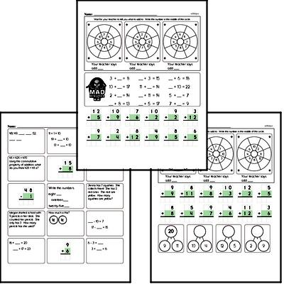 Mad Minute Timed Addition Math Drill Pages for Second Graders (Addition of +2 to +12)