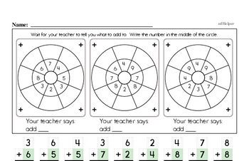 Mad Minute Timed Addition Math Drill Pages for Second Graders (Addition of +2 to +9)