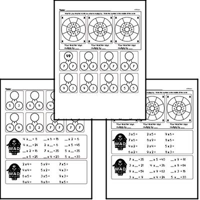 Mad Minute Timed Multiplication Math Drill Pages for Second Graders