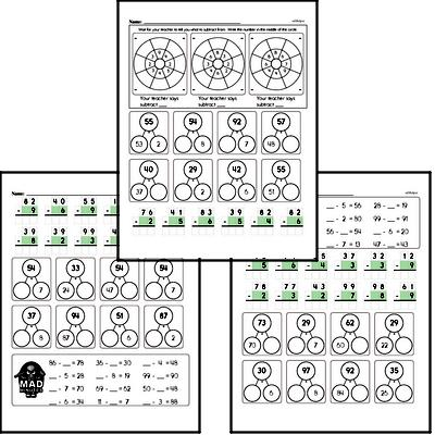 Mad Minute Timed Subtraction Math Drill Pages for Second Graders (2-digits minus 1-digit)