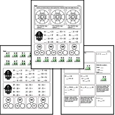 Mad Minute Timed Subtraction Math Drill Pages for Second Graders (2-digits minus 2-digits)