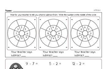 Mad Minute Timed Subtraction Math Drill Pages for Second Graders (Subtraction of -2 to -12)
