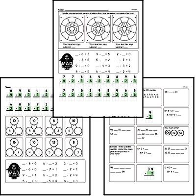 Mad Minute Timed Subtraction Math Drill Pages for Second Graders (Subtraction of -2 to -9)