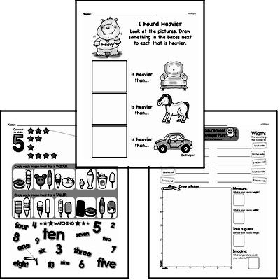 Measurement - Measurement and Comparisons Mixed Math PDF Workbook for Second Graders