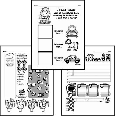 Measurement - Measurement and Weight Mixed Math PDF Workbook for Second Graders