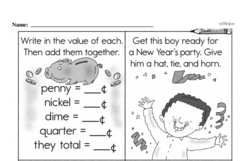Free Second Grade Money Math PDF Worksheets Worksheet #31