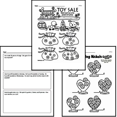 Money Math Mixed Math PDF Workbook for Second Graders